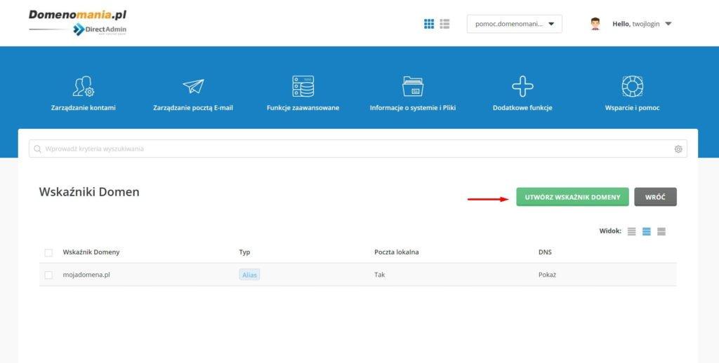 Jak zaparkować domenę w DirectAdmin?