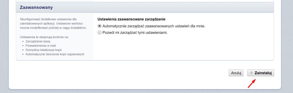 Kliknij przycisk: Zainstaluj, aby zainstalować aplikację przez Autoinstalator w DirectAdmin