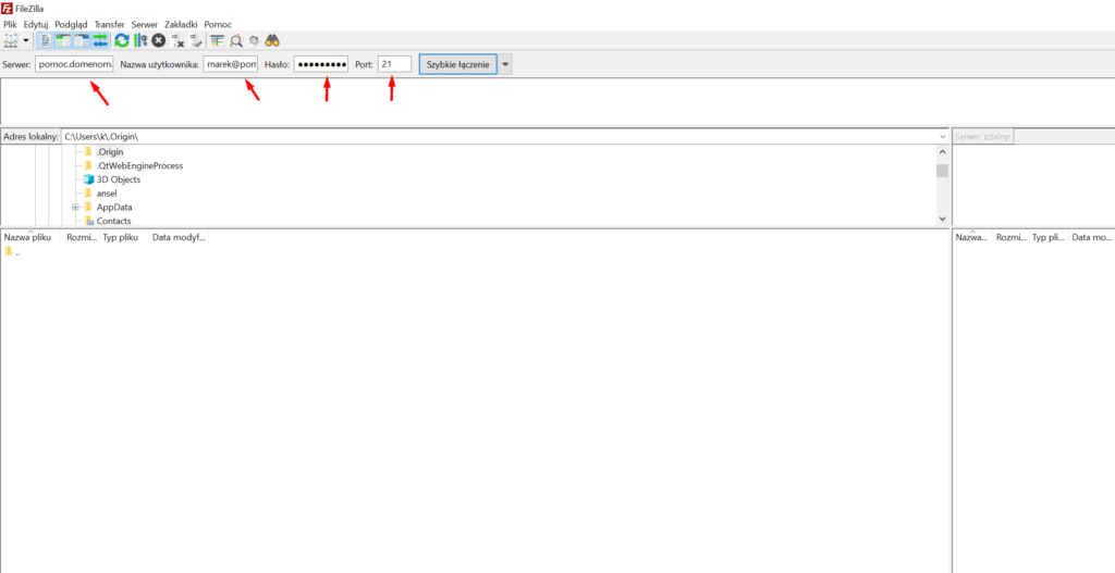 Uruchom FileZilla i wpisz dane serwera FTP, z którym chcesz się połączyć.