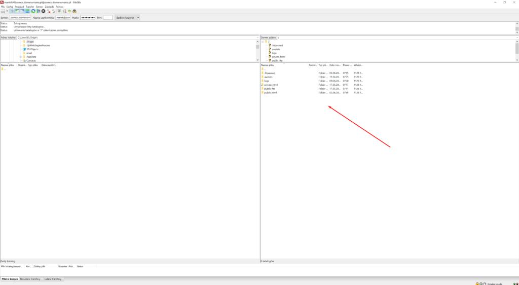 Po połączeniu z serwerem FTP, po prawej stronie ekranu będzie wyświetlona jego zawartość.