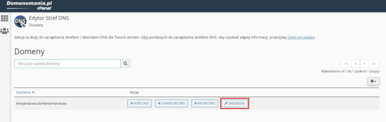 cPanel - Edytor stref DNS - Zarządzaj domeną