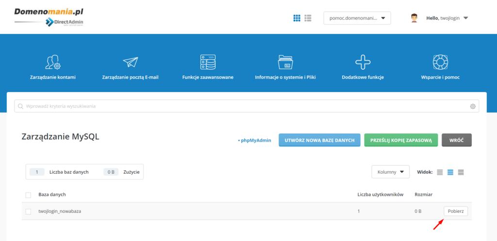 DirectAdmin - Zarządzanie MySQL - kliknij Pobierz