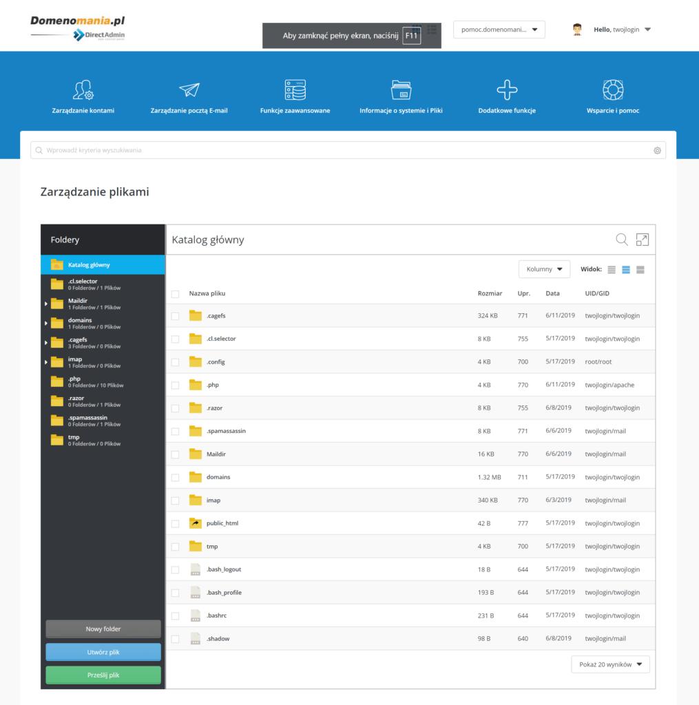 Jak połączyć się z menadżerem plików w DirectAdmin?