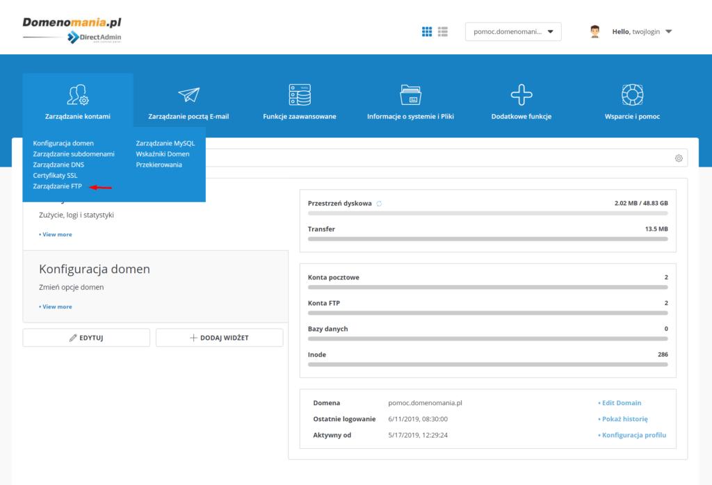 Tworzenie konta FTP w DirectAdmin