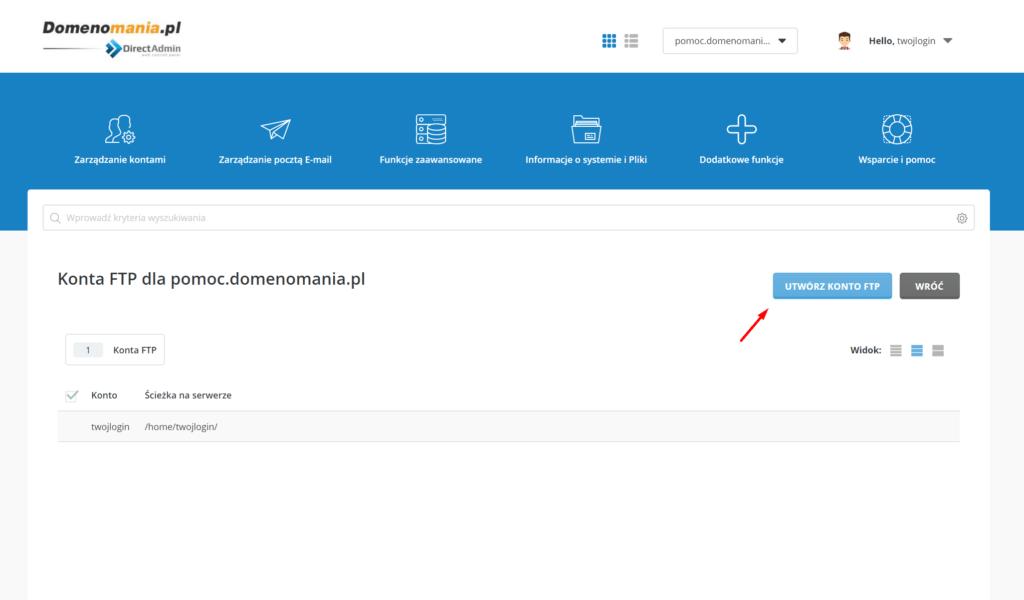W DirectAdmin kliknij przycisk: Utwórz konto FTP
