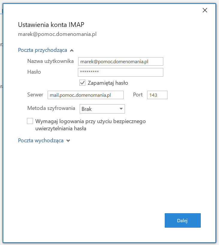 Przy konfiguracji poczty e-mail bez certyfikatu wybierz metoda szyfrowania brak.