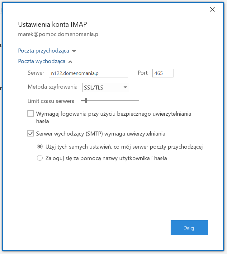 Ustawienia poczty wychodzącej w Microsoft Outlook