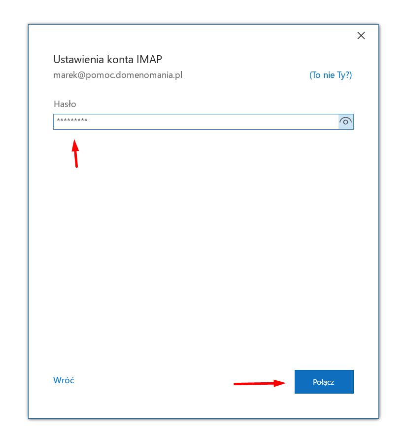 Wpisz hasło dostępu do swojej skrzynki e-mail, aby skonfigurować pocztę w Microsoft Outlook