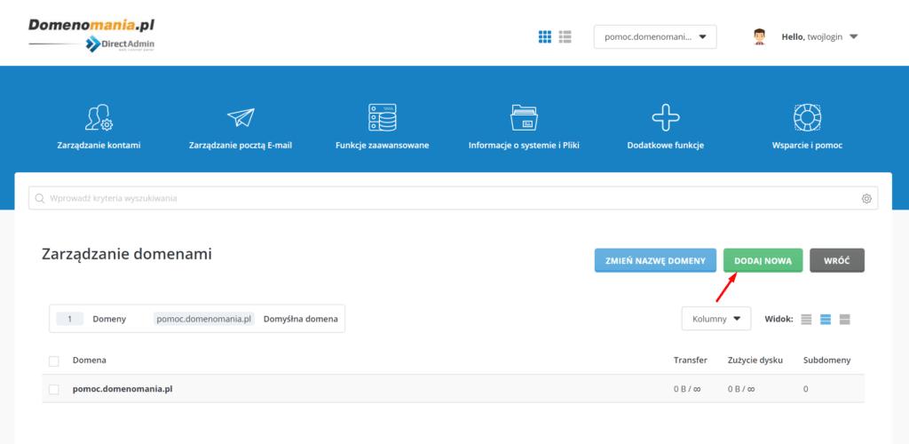 Zarządzanie kontami - Konfiguracja domen - Dodaj nową