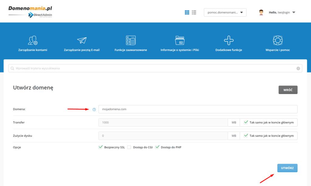 Przypisywanie domeny do panelu DirectAdmin