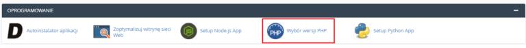 Aby zmienić ustawienia modułów PHP w cPanelu znajdź sekcję: Oprogramowanie i kliknij: Wybór wersji PHP