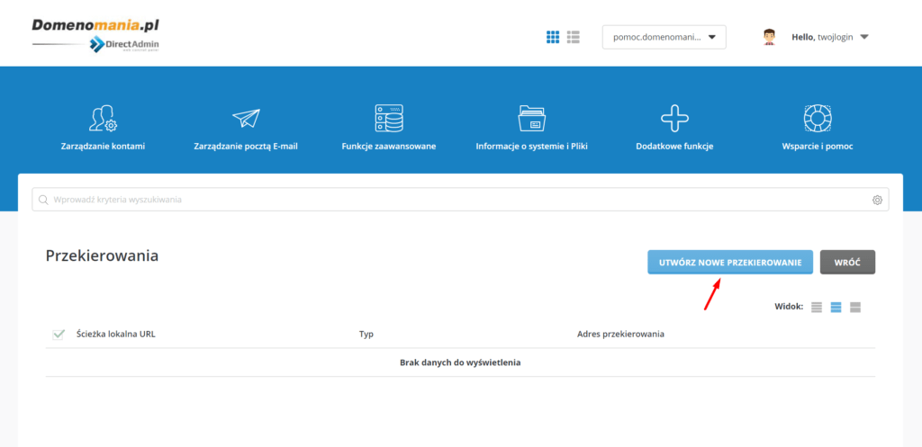 W DirectAdmin możesz ustawić przekierowanie domeny