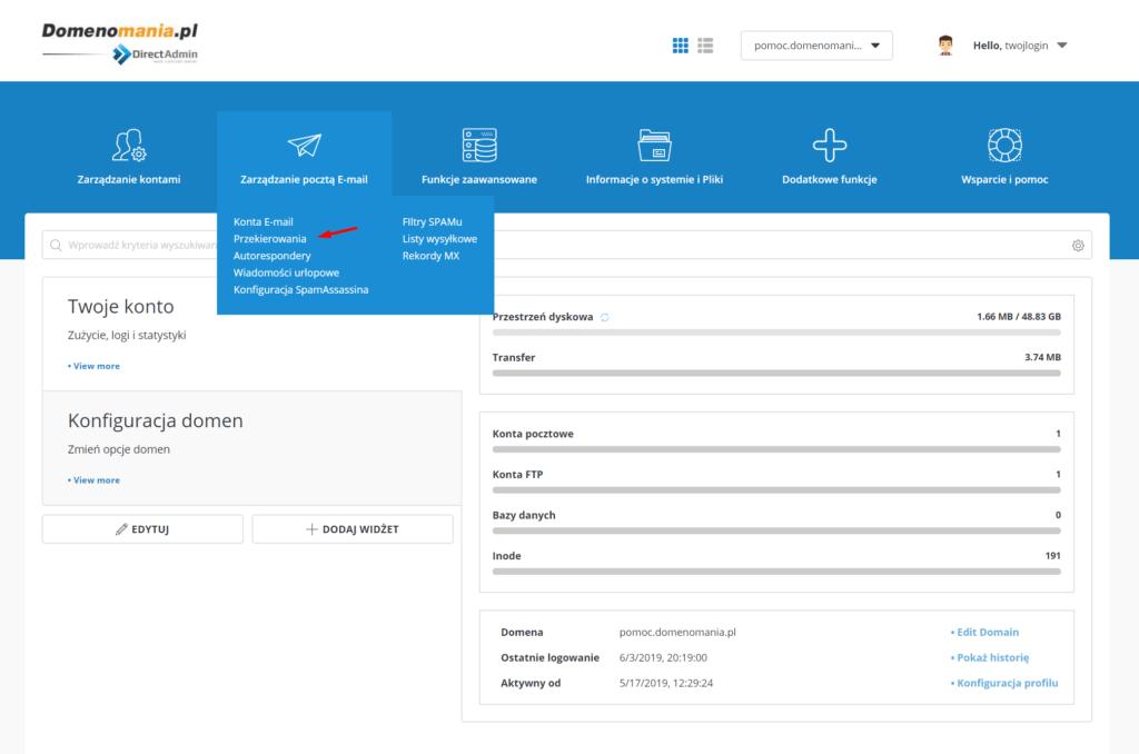 Ustawianie przekierowania poczty w DirectAdmin