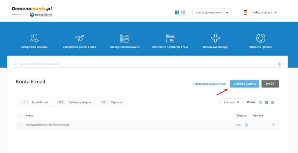 Jak dodać skrzynkę e-mail w DirectAdmin?