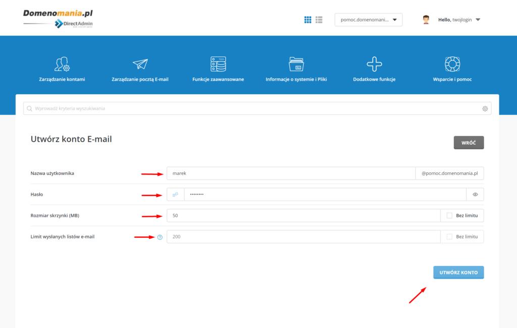 Formularz tworzenia skrzynki e-mail w DirectAdmin