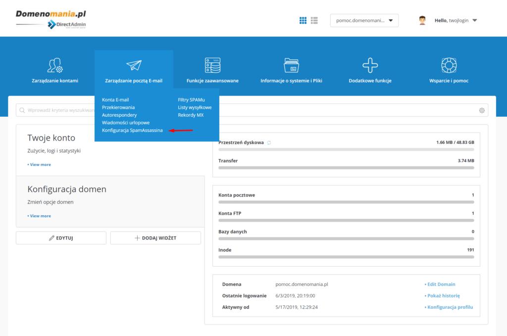 W DirectAdmin przejdź do sekcji: Zarządzanie pocztą e-mail -> Konfiguracja SpamAssasina