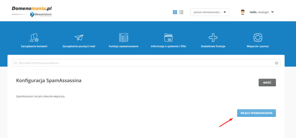 Na ekranie konfiguracji SpamAssassin kliknij przycisk Włącz SpamAssassina