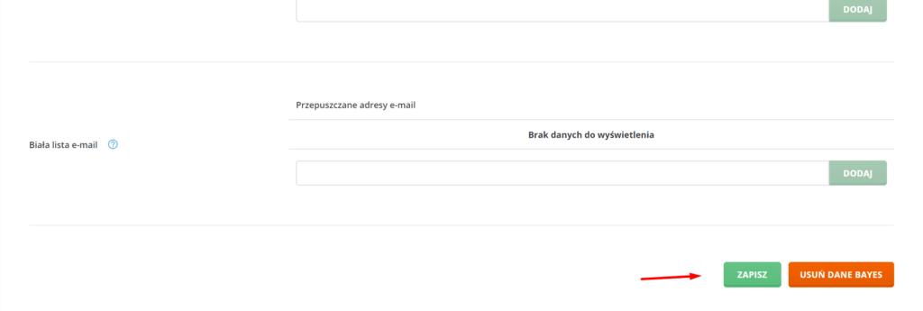 Po ustawieniu konfiguracji SpamAssasin, kliknij przycisk: Zapisz.