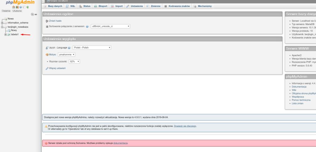 Po poprawnym zalogowaniu, zostaniesz połączony z phpMyAdmin dla wybranej bazy