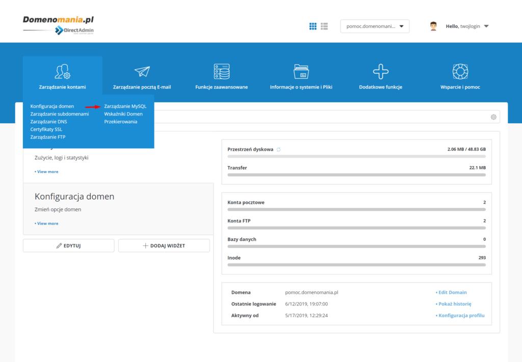 W DirectAdmin przejdź do sekcji: Zarządzanie kontami -> Zarządzanie MySQL