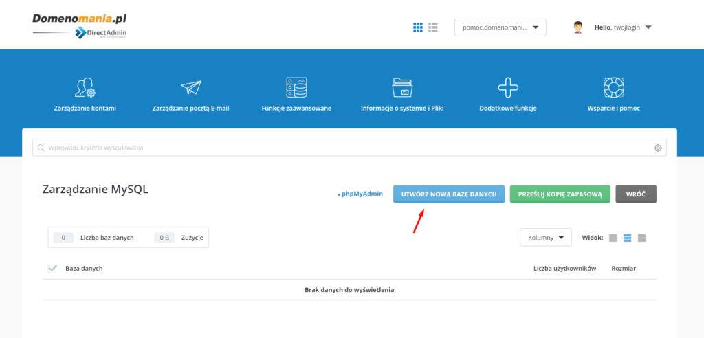 W sekcji Zarządzanie MySQL kliknij przycisk: Utwórz nową bazę danych