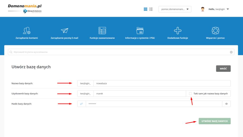 Uzupełnij formularz tworzenia nowej bazy danych.