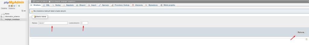 Tworzenie nowej tabeli w bazie danych przez phpMyAdmin