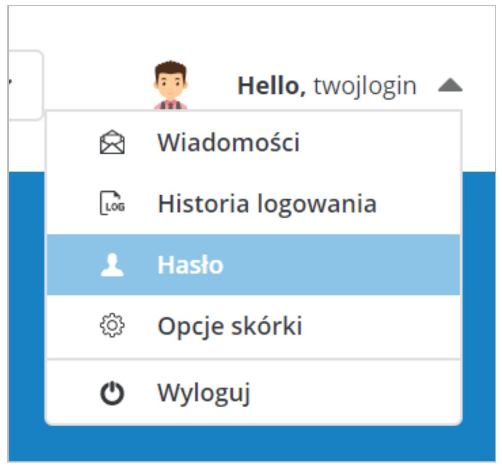 Po zalogowaniu do DirectAdmin, kliknij w prawym górnym rogu: Hasło