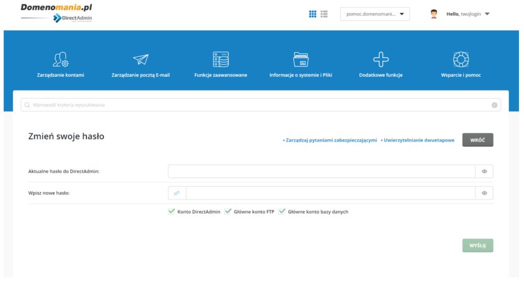 Wypełnij formularz zmiany hasła do panelu DirectAdmin