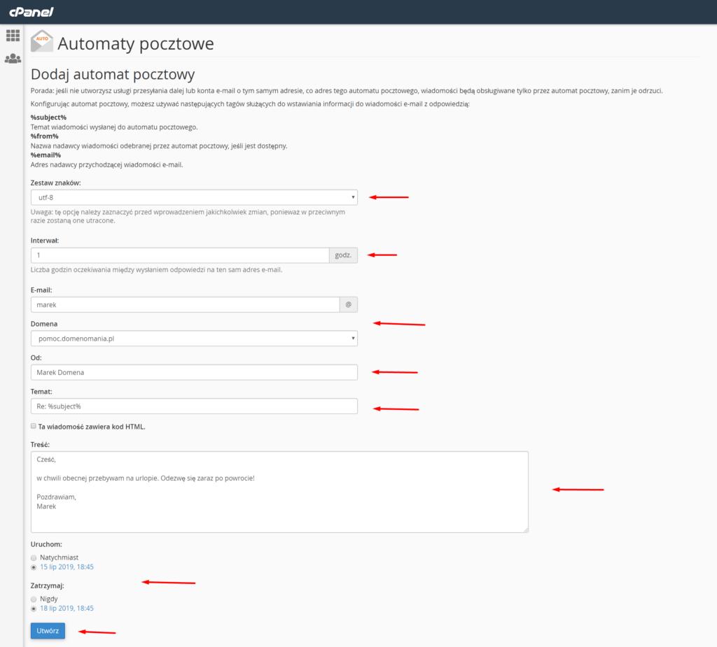 W cPanelu uzupełnij formularz dodawania autorespondera