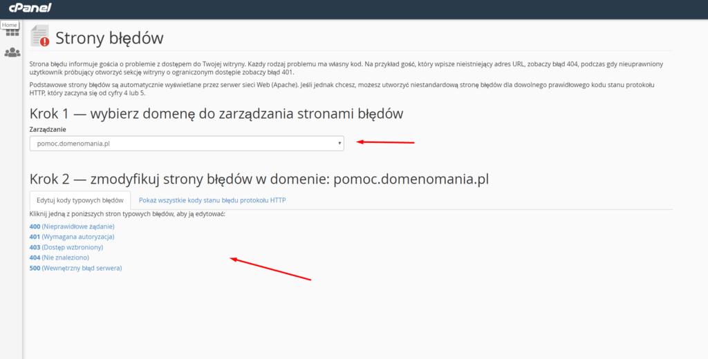Własne strony błędów w cPanelu