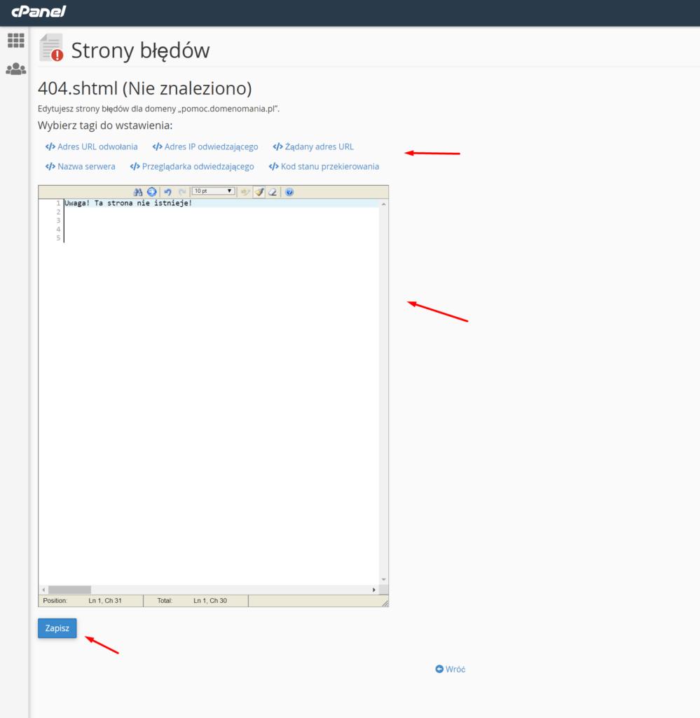 W cPanelu użyj edytora HTML, aby zmienić wygląd komunikatu błędu