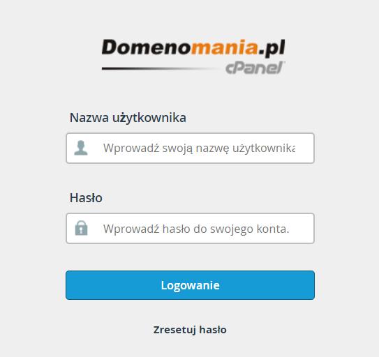 Aby zalogować się do cPanel, wpisz nazwę użytkownika oraz hasło dostępu do cPanel.
