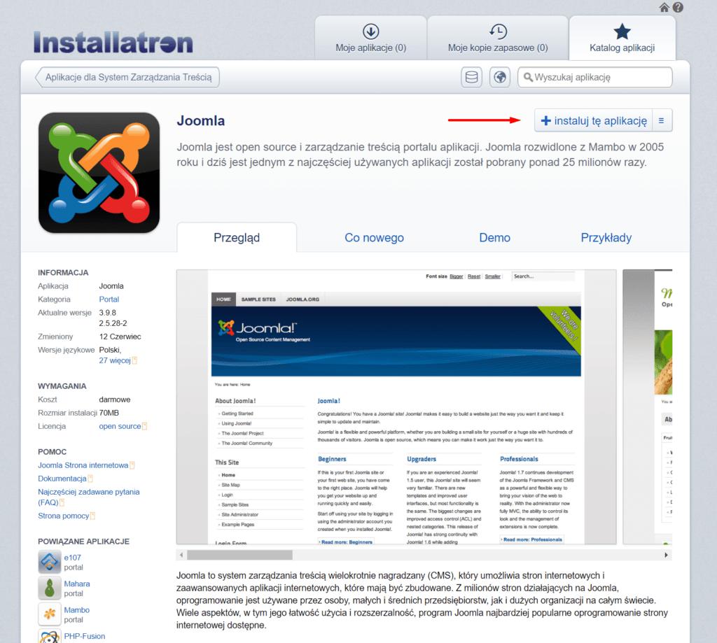 Instalacja Joomla przez Autoinstalator aplikacji w panelu cPanel