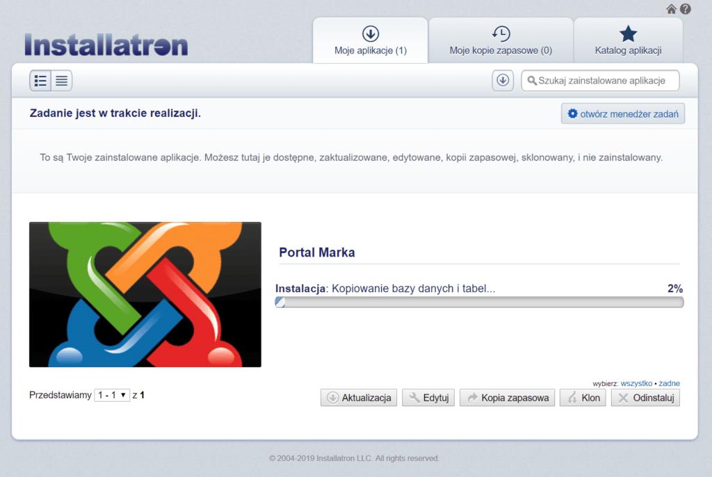 Instalacja Jooml! w zakładce Moje aplikacje w cPanelu