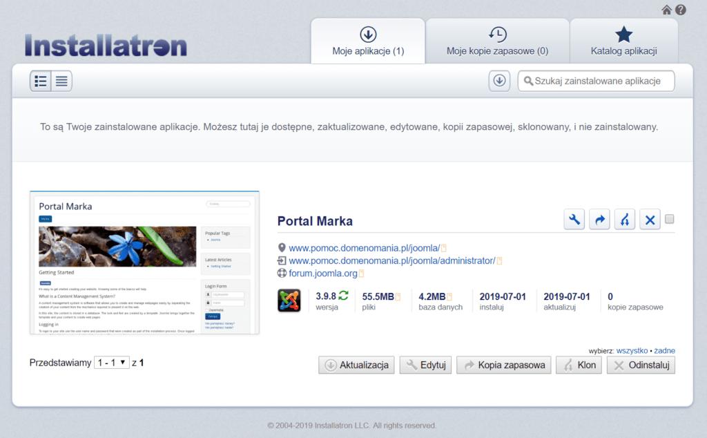 Zakończenie instalacji Joomla! przez Autoinstalator aplikacji w cPanelu
