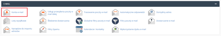 Aby usunąć skrzynkę e-mail w cPanelu, kliknij opcję: Konta e-mail