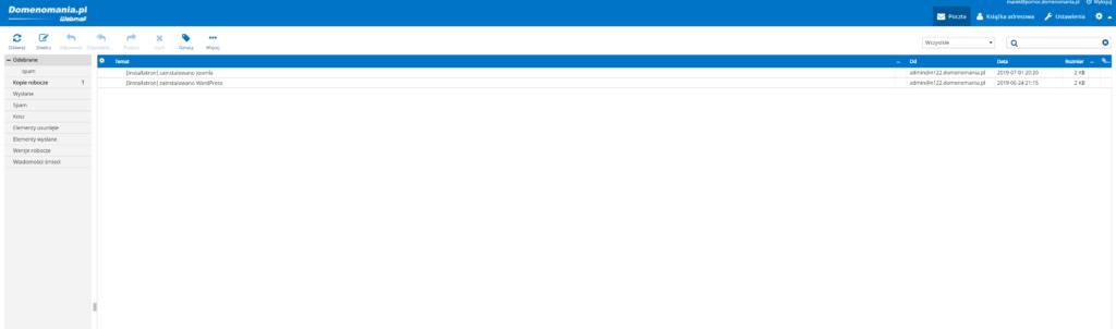 Po zalogowaniu do skrzynki e-mail przez Webmail, zobaczysz swoją skrzynkę odbiorczą.
