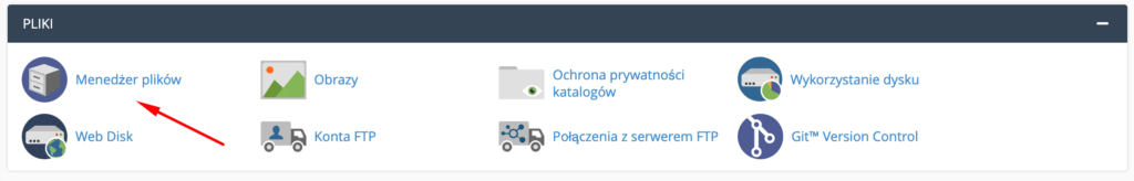 W cPanelu w sekcji: Pliki kliknij opcję: Menadżer plików.