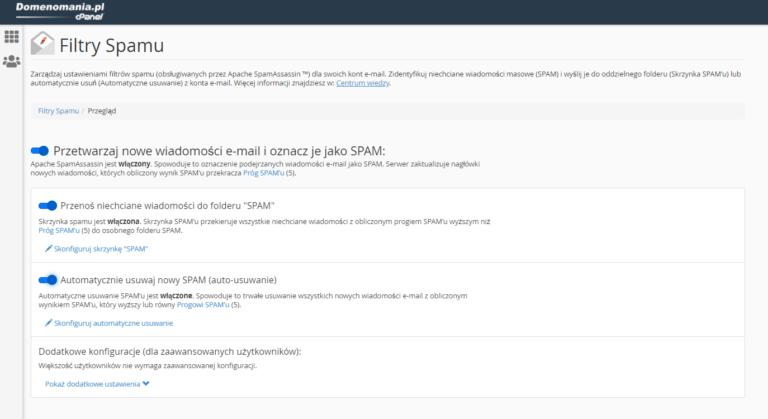 Konfiguracja SpamAssassin w cPanel