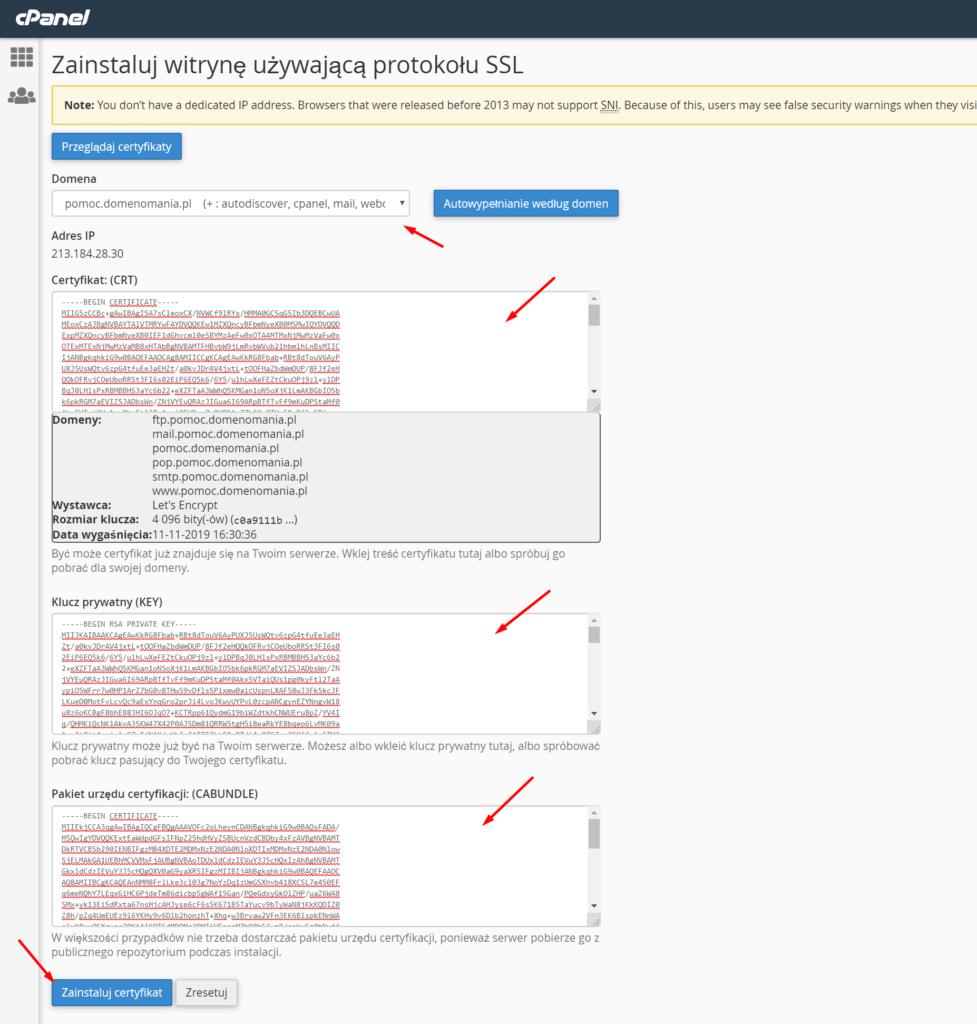 Instalacja certyfikatu SSL na serwerze przez cPanel