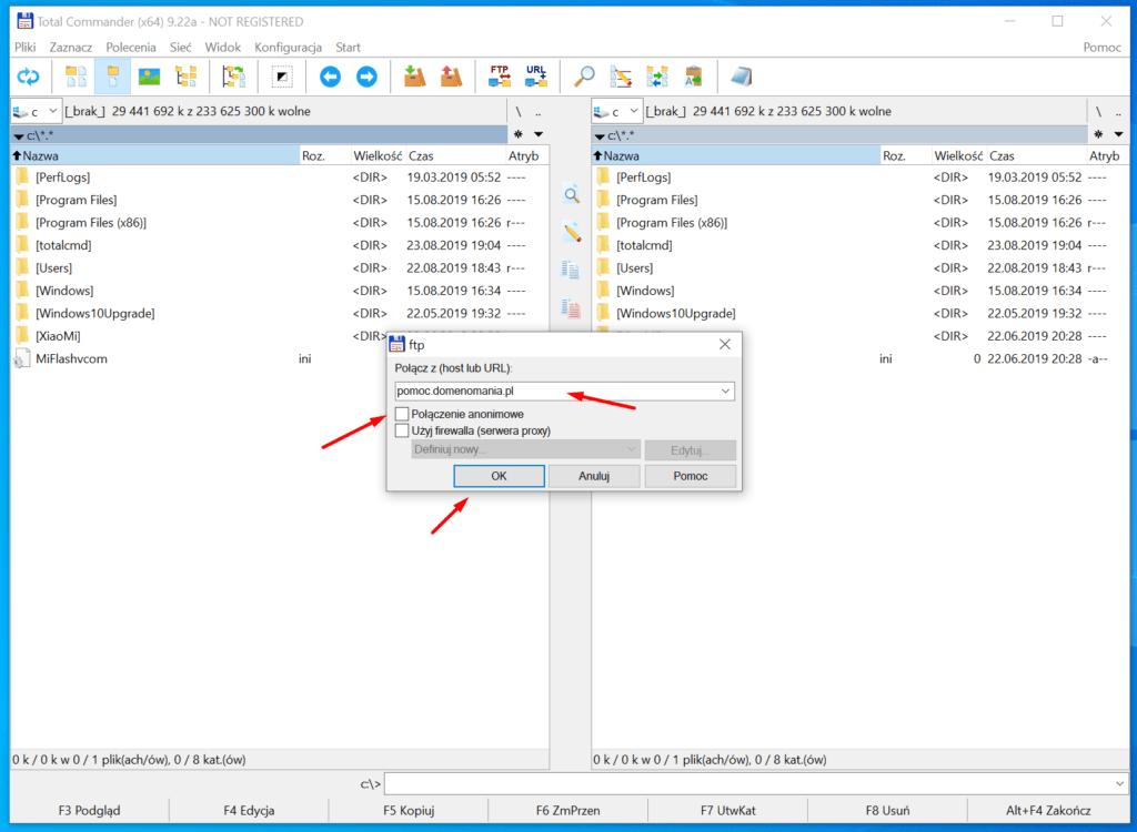 Skonfiguruj połączenie z serwerem FTP w Total Commander