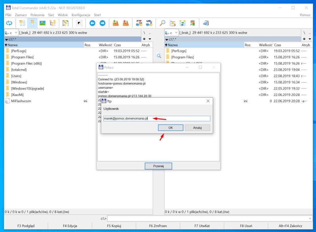 Konfiguracja połączenia z serwerem FTP w Total Commander