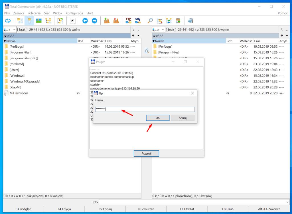 Podaj hasło do konta FTP podczas połączenia z serwerem FTP w Total Commander