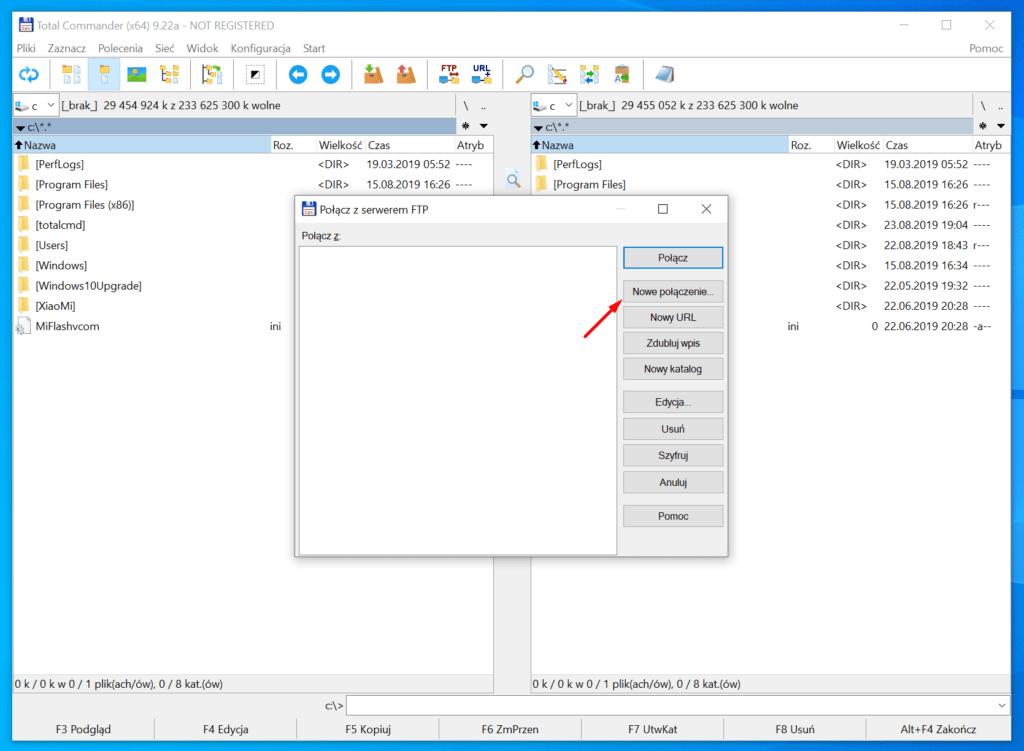 Kliknij przycisk: Nowe połączenie, aby zapisać połączenie FTP