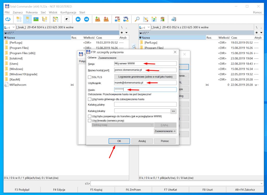 W oknie konfiguracji połączenia FTP wpisz dane do serwera FTP