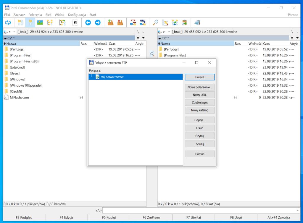 Po zapisaniu danych logowania, będziesz mógł z nich później korzystać do łączenia z FTP