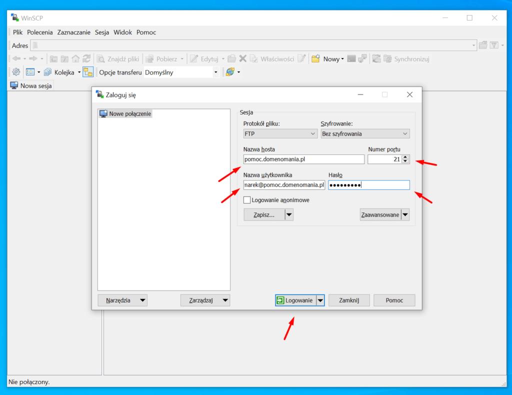 Jak połączyć się z FTP przez WinSCP?