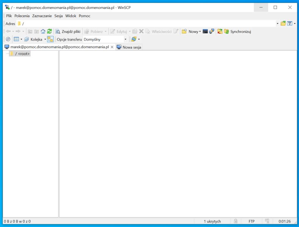 Połączenie FTP poprzez WinSCP