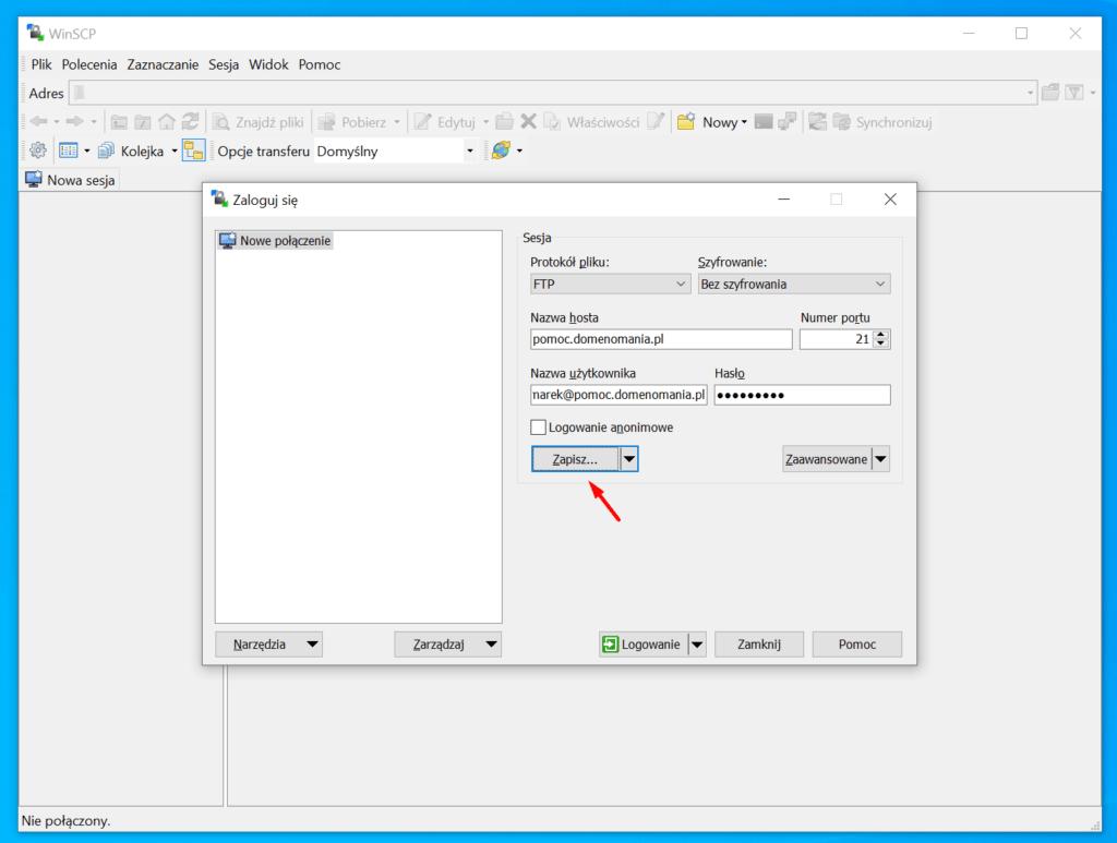 W oknie logowania, po wprowadzeniu danych, kliknij przycisk Zapisz.